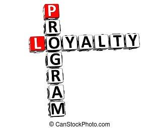3D Program Loyalty Crossword on white background