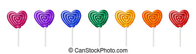 colorful heart shape lollipop on white background