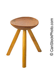round top maka wood stool isolated on white background
