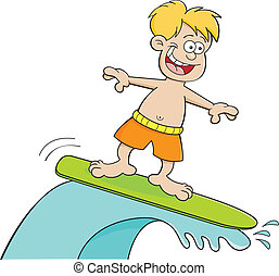 Cartoon boy surfing - Cartoon illustration of a boy surfing.
