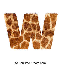 Letter from giraffe style fur alphabet Isolated on white...