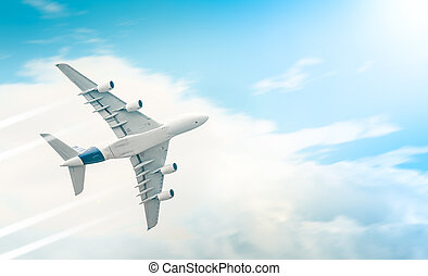 Passenger airplane flying in blue cloudy sky. - Passenger...