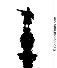 Christopher Columbus Statue - Silhouette of Christopher...