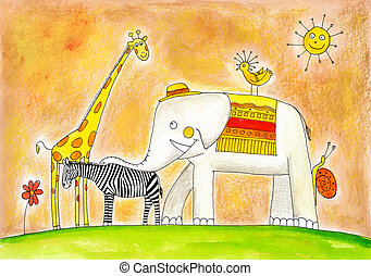 grupo, Niño, dibujo, animales, acuarela, papel, Pintura