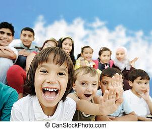 torcida, crianças, diferente, idades, raças,...