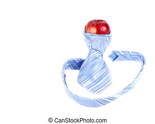 composition of red apple and blue tie