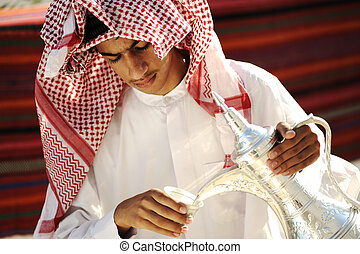 Arabic young man receiving guests