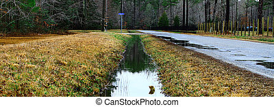 A ditch full of water runoff running along a road and fence...
