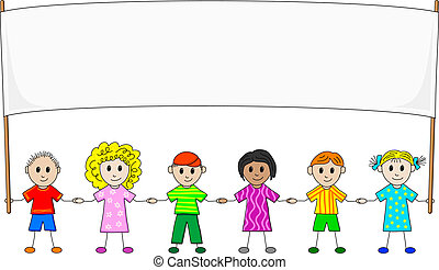children with banner - illustration of children with banner