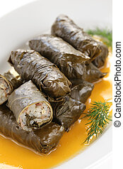 dolma, stuffed grape leaves with eg - turkish and greek...