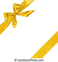yellow ribbon with bow, square composition isolated on white...