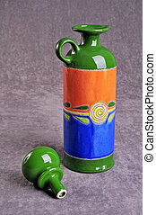 An ecuadorian hand crafted vase - A colorful Ecuadorian hand...