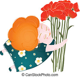 Middle Age Happy Woman with Flowers - Poppies bunch and a...