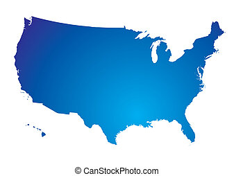 north america blue map - Illustration of the north american...