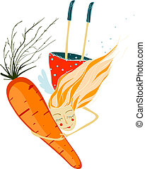 Healthy Girl with Carrot - Healthy food illustration. Vector...