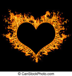 fiery heart on black background Concept, closeup