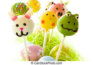 Easter cake pops - Dark chocolate Easter cake pops decorates...