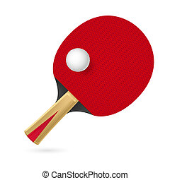 Racket for playing table tennis Illustration on white...