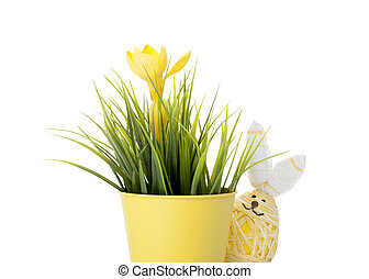 Easter bunny egg with spring flower - Cute little hand...