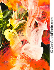 Vivid abstract, ink in water - Vibrant background of red,...
