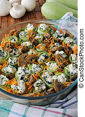 Zucchini rolls stuffed with ricotta and spinach and mushrooms