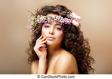 Complexion. Classy Young Woman with Curly Hairdo - Blush...