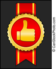 Golden medal with thumbs up icon, vector eps10 illustration