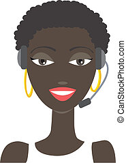 Africanamerican phone support - Vector illustration of an...