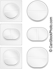 Pills - Different pills on white background, vector eps10...
