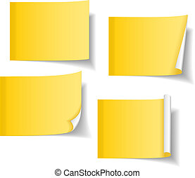 Different yellow sticky notes - Four different yellow sticky...