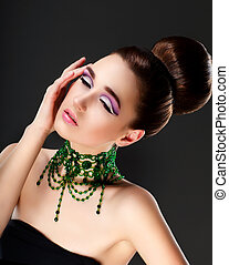fresco, mujer, cara, collar, esmeralda, piedras preciosas,...