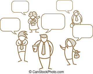 cartoon character of business men and women with speech bubble