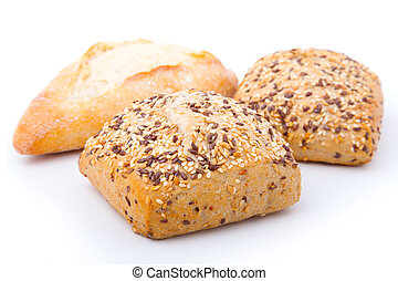tasty baked with sesame, isolated on a white background