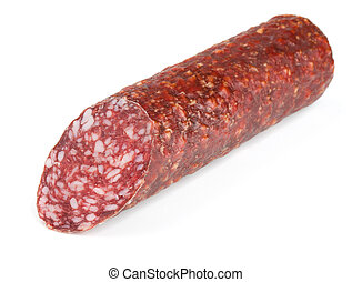 Smoked sausage - Piece of fresh dry smoked sausage isolated...