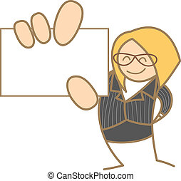 cartoon character of woman holding name card
