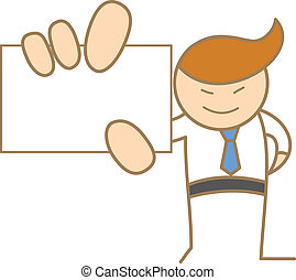 cartoon character of man holding name card