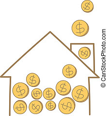 cartoon drawing of money coin falling on house frame