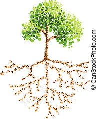 dot painting tree and root