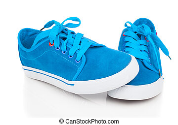 vintage blue shoes on white background