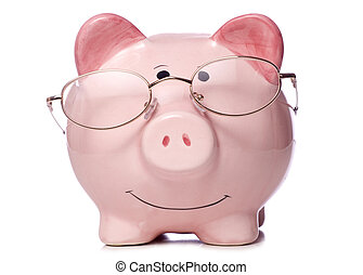 piggy bank wearing reading glasses