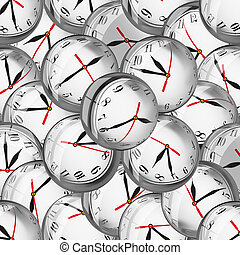 Clocks in bubbles - deadlines and time management concept -...