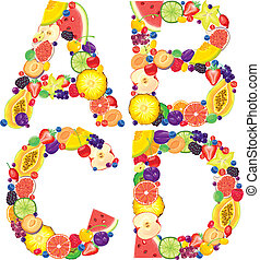Alphabet from fruit ABCD - Alphabet from fruit.Letters...