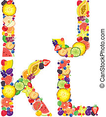 Alphabet from fruit IJKL - Alphabet from fruit.Letters...