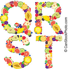 Alphabet from fruit QRST - Alphabet from fruit.Letters...