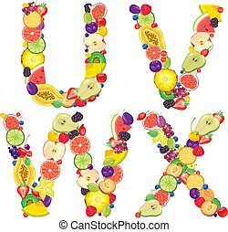 Alphabet from fruit UVWX - Alphabet from fruit.Letters...