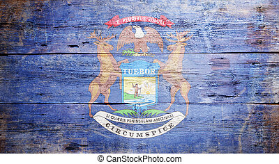 Flag of the State of Michigan painted on grungy wooden...