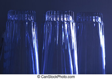 glasses - three upside down glasses with blue overlay