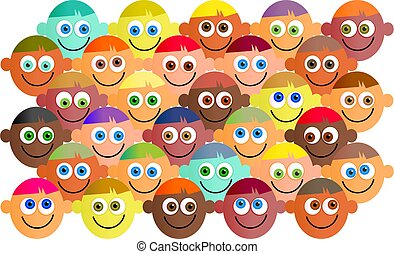 happy crowd - Happy, smiling, diverse crowd of cartoon faces...