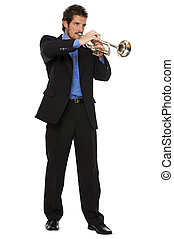 trumpet - young men playing trumpet isolated on white