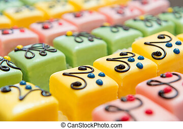 colorful Petit fours for the party - many colorful petit...